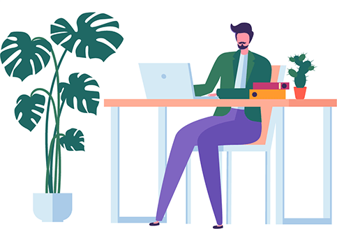 Team O'clock: Graphic of working on a desk