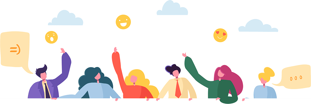 Team O'clock: Graphic of a team leaning over a deck and waving