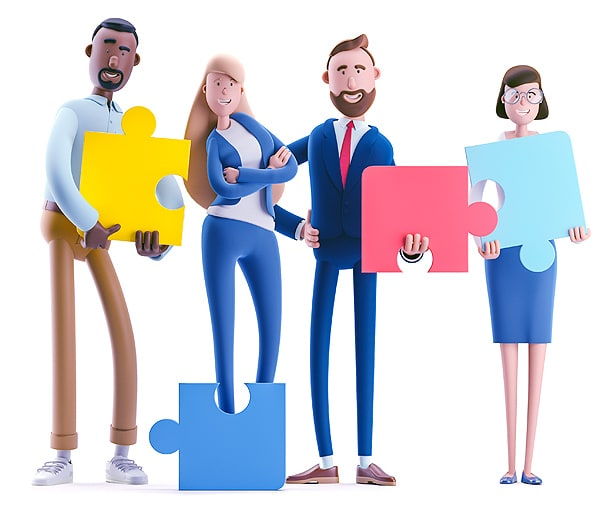 Team O'clock: Graphic of people holding puzzle parts