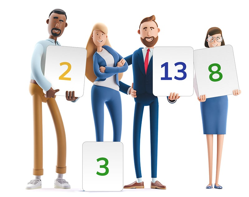 Team O'clock: Graphic of a team holding estimation cards