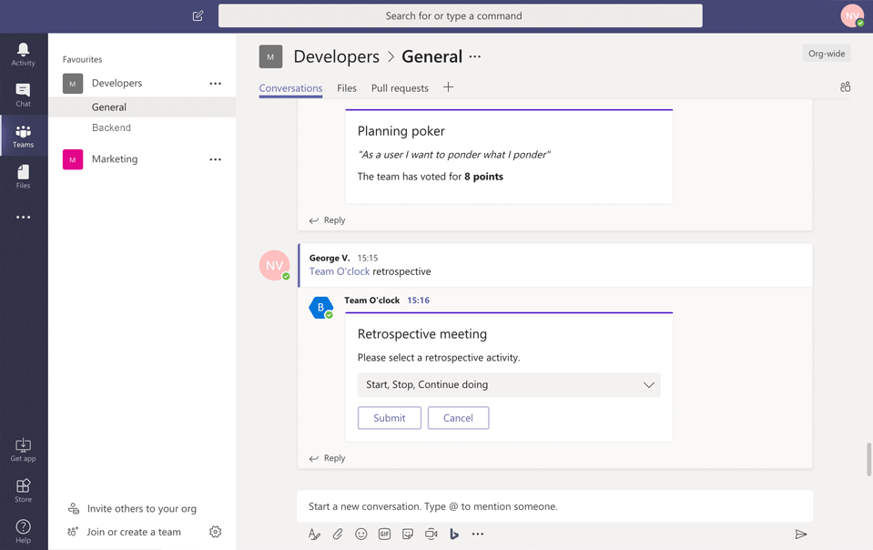 Team O'clock: Starting a retrospective meeting in Microsoft Teams