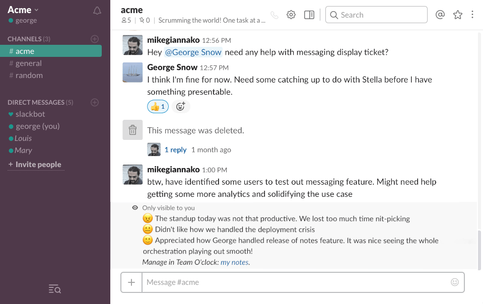 Team O'clock: Viewing personal notes in Slack