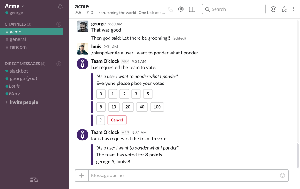 Team O'clock: Planning poker in Slack view