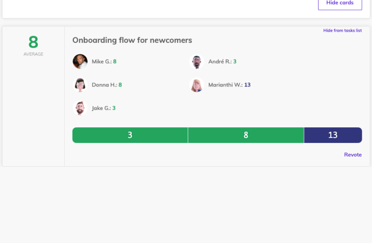 Team O'clock: Planning poker card votes visible