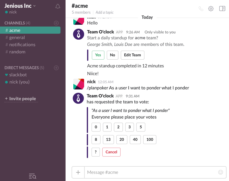 Team O'clock: Slack integration view