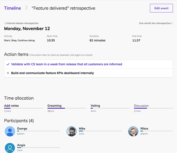 Team O'clock: Meetings and events timeline view